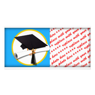 Graduation Cap w/Diploma - Blue Background Photo Card