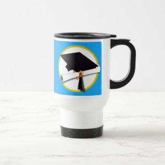 Graduation Cap w/Diploma - Blue Background Travel Mug