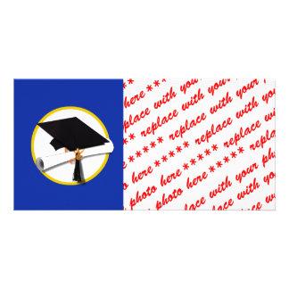 Graduation Cap w/Diploma - Dark Blue Background Customized Photo Card