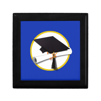 Graduation Cap w/Diploma - Dark Blue Background Gift Box