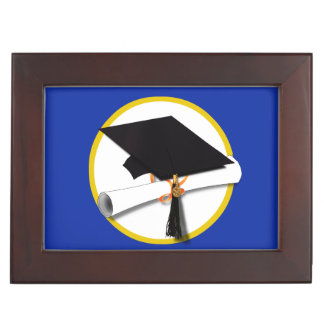 Graduation Cap w/Diploma - Dark Blue Background Keepsake Box