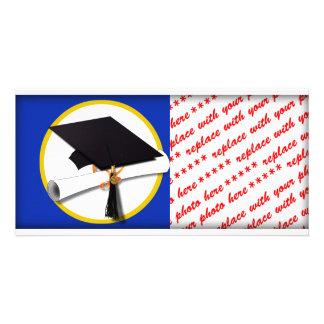 Graduation Cap w/Diploma - Dark Blue Background Photo Cards