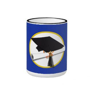 Graduation Cap w/Diploma - Dark Blue Background Ringer Mug