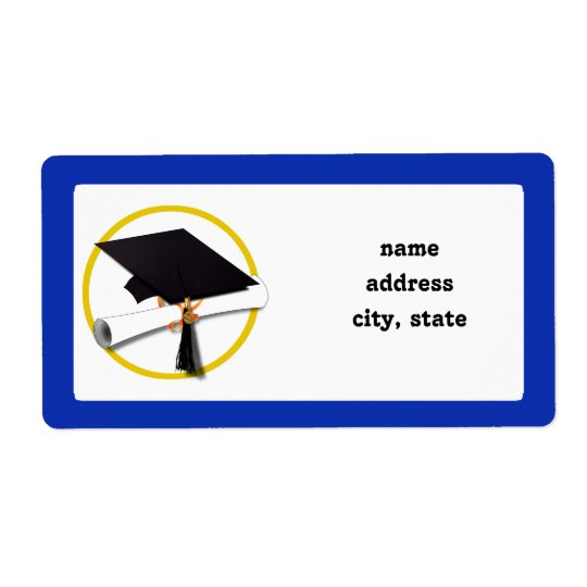 Graduation Cap w/Diploma - Dark Blue Background Shipping Label