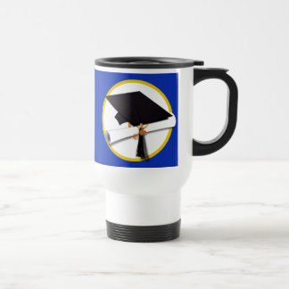 Graduation Cap w/Diploma - Dark Blue Background Stainless Steel Travel Mug