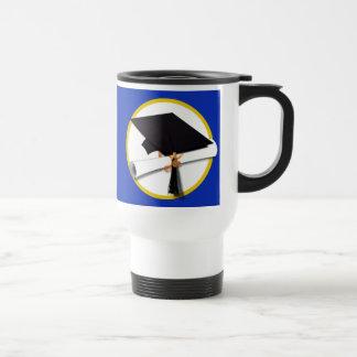 Graduation Cap w/Diploma - Dark Blue Background Travel Mug