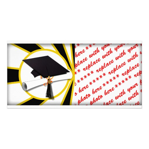Graduation Cap w/Diploma - Gold & Black Photo Card Template