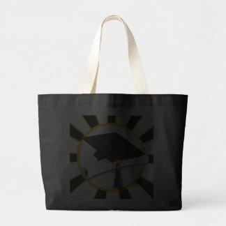 Graduation Cap w/Diploma - Gold & Black Jumbo Tote Bag