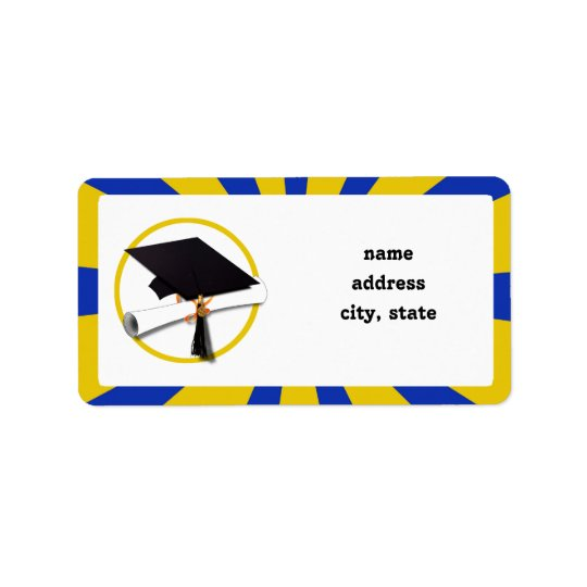 Graduation Cap w/Diploma - Gold & Blue Label