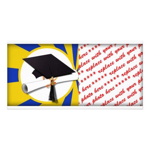 Graduation Cap w/Diploma - Gold & Blue Custom Photo Card
