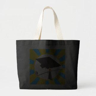 Graduation Cap w/Diploma - Gold & Light Blue Jumbo Tote Bag