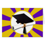 Graduation Cap w/Diploma - Gold & Purple Greeting Card