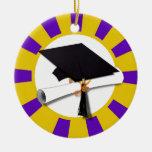 Graduation Cap w/Diploma - Gold & Purple Round Ceramic Decoration