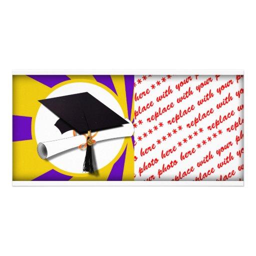 Graduation Cap w/Diploma - Gold & Purple Picture Card