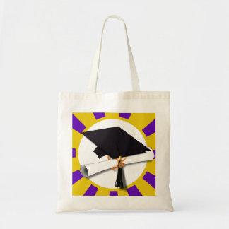 Graduation Cap w/Diploma - Gold & Purple Budget Tote Bag