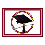 Graduation Cap w/Diploma - Gold &  Red Pack Of Chubby Business Cards