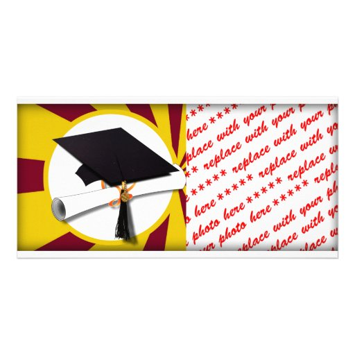 Graduation Cap w/Diploma - Gold & Red Picture Card