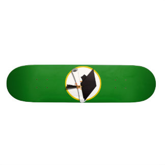 Graduation Cap w/Diploma - Green Background Custom Skateboard