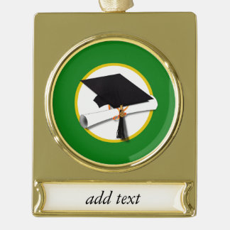 Graduation Cap w/Diploma - Green Background Gold Plated Banner Ornament