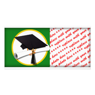 Graduation Cap w/Diploma - Green Background Personalised Photo Card