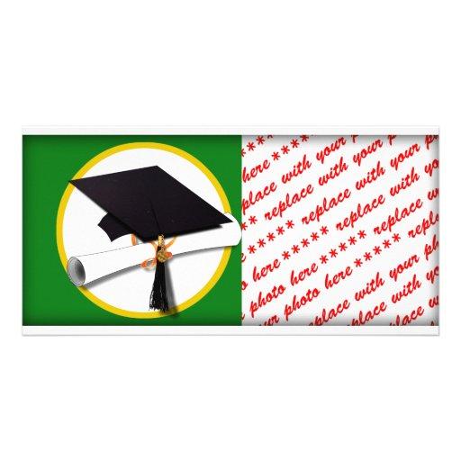 Graduation Cap w/Diploma - Green Background Customized Photo Card