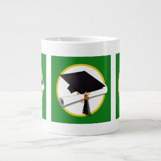 Graduation Cap w Diploma - Green Background Extra Large Mugs
