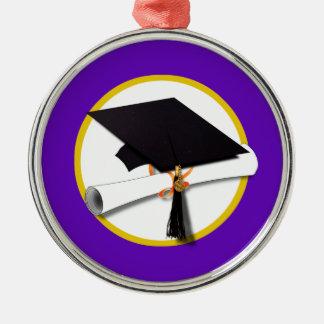 Graduation Cap w/Diploma - Purple Background Christmas Ornament