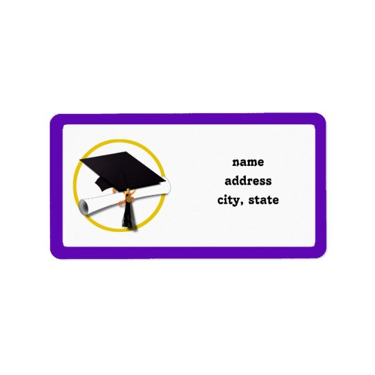 Graduation Cap w/Diploma - Purple Background Label