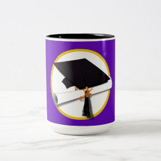 Graduation Cap w Diploma - Purple Background Mug