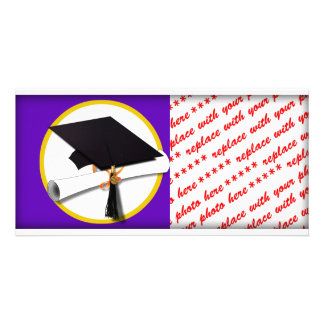 Graduation Cap w/Diploma - Purple Background Personalised Photo Card