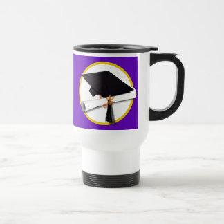 Graduation Cap w/Diploma - Purple Background Travel Mug