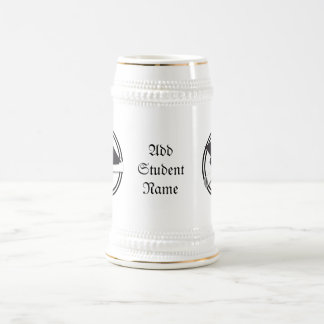 Graduation Cap with Black And White Circle Beer Stein