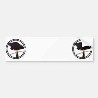 Graduation Cap with Black And White Circle Bumper Sticker