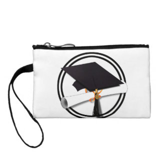 Graduation Cap with Black And White Circle Change Purse