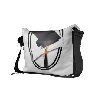 Graduation Cap with Black And White Circle Messenger Bag