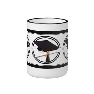 Graduation Cap with Black And White Circle Ringer Mug