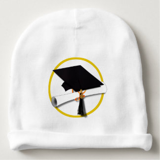 Graduation Cap with Diploma and Gold Circle Baby Beanie