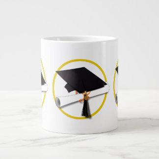 Graduation Cap with Diploma and Gold Circle Jumbo Mug