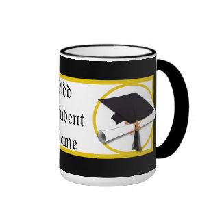 Graduation Cap with Diploma and Gold Circle Ringer Mug