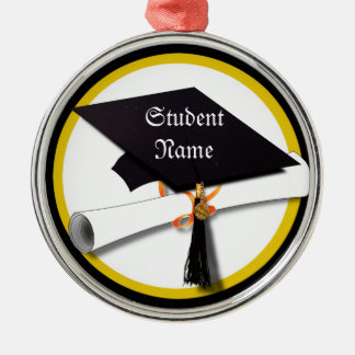 Graduation Cap with Diploma and Gold Circle Silver-Colored Round Decoration
