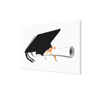 Graduation Cap With Diploma Gallery Wrapped Canvas