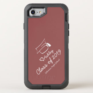 Graduation Cap Year Name School OtterBox Defender iPhone 7 Case