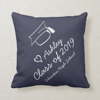 Graduation Cap Year Name School Personalized Throw Pillow