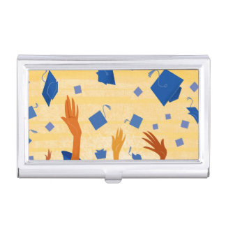 Graduation Caps in the Air Business Card Holder