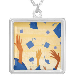 Graduation Caps in the Air Silver Plated Necklace