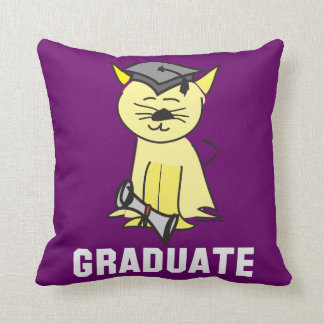 Graduation Cat Lover Throw Pillow