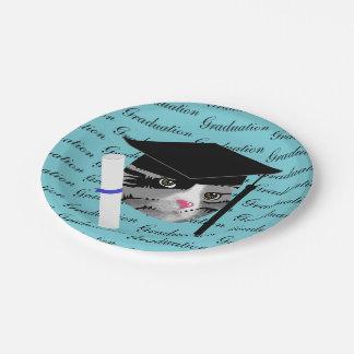 Graduation Cat Paper Plate