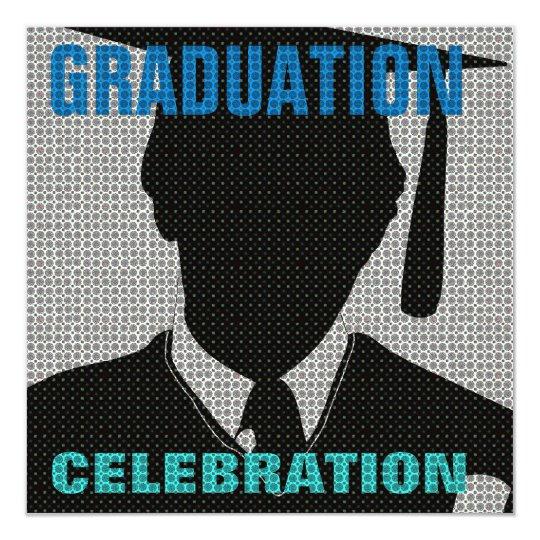 Graduation Celebration Cap & Gown Invitation Grey