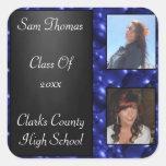 Graduation Chalkboard 2 Photos Blue Glass Bubbles Square Sticker