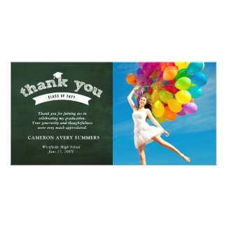 Graduation Chalkboard Sketch Thank You Photo Card